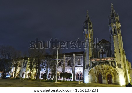 Jeronimos Monastery at Night, famous historical landmark of the city and iconic symbol of Manueline style architecture in Lisbon. Portugal