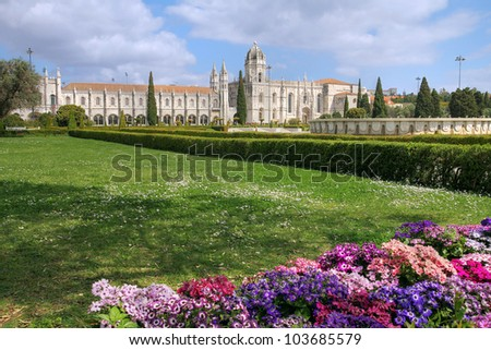 Jeronimos Monastery in the Belem area of Lisbon, Portugal. The monastery is classified as a UNESCO world heritage site.