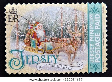 JERSEY - CIRCA 2007: A Christmas stamp printed in Jersey shows jingle bells, circa 2007