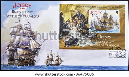 JERSEY - CIRCA 2005: A stamp printed in Jersey commemorating the bicentenary of the Battle of Trafalgar, firs day of issue, circa 2005