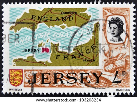 JERSEY - CIRCA 1990: A stamp printed in Jersey shows map of the island of Jersey in the British Channel, circa 1990
