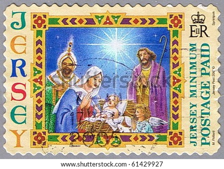 JERSEY - CIRCA 2004: A stamp printed in Jersey shows Nativity, series, circa 2004