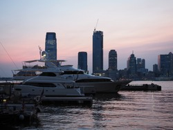 Jersey City, seen from a Yacht harbor in Manhattan.