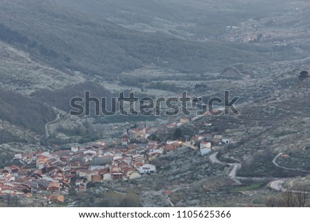 Jerte valley from Tornavacas viewpoint. Cherry blossom. Rural Spain. Horizontal Stock photo ©