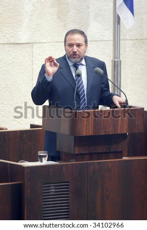 JERUSALEM - APRIL 14 : Minister of Foreign Affairs of the State of Israel, Avigdor Lieberman gives a speech in Knesset April 14, 2009 in Jerusalem, Israel.