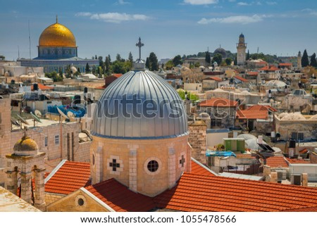Jerusalem. Cityscape image of old town Jerusalem, Israel with the Church of St. Mary of agony and the Dome of the Rock
