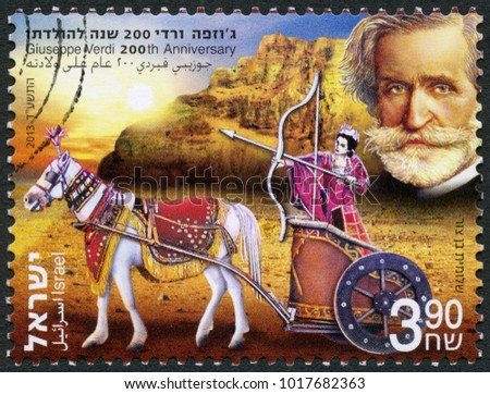 JERUSALEM, ISRAEL - DECEMBER 03, 2013: A stamp printed in Israel shows Giuseppe Verdi (1813-1901), Italian composer, 200th anniversary, 2013  #1017682363