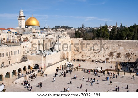JERUSALEM, ISRAEL - JANUARY 23: Jewish worshipers pray at the Wailing Wall January 23, 2011 in Jerusalem, Israel.