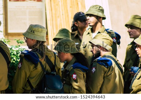 Jerusalem Israel October 6, 2019 View of Israeli soldiers visiting the old city of Jerusalem in the afternoon #1524394643