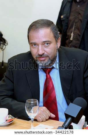 JERUSALEM - MAY 20: Press conference by Minister of Foreign Affairs of the State of Israel, Avigdor Lieberman in the Knesset on the Middle East held May 20, 2009 in Jerusalem, Israel.