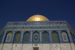 Jerusalem - Nov 21, 2010 - The Dome on the Rock on the Temple Mount, also known as Mount Moriah at night.