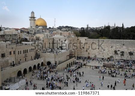 JERUSALEM - OCTOBER 22: Jewish prayers and pilgrims beside Western Wall October 22, 2012 in Jerusalem, Israel.