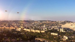 Jerusalem Old city and Idf jets flying over- Aerial view