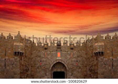 Jerusalem Old City - Damascus Gate on the sunset background - stock photo