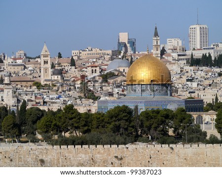 Jerusalem Old City Skyline - stock photo
