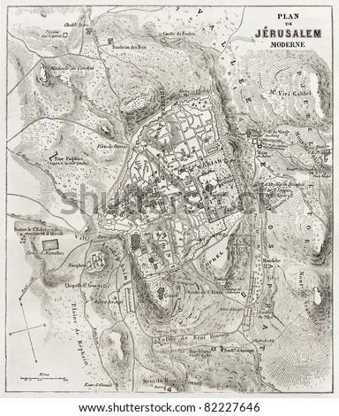 Jerusalem old map. Created by Villemin after Gerardy, published on Le Tour du Monde, Paris, 1860