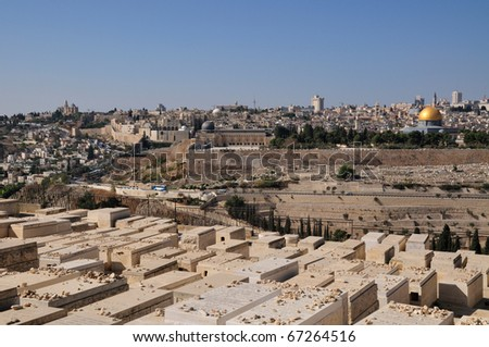 Jerusalem Olives Cemetery glance on Moria mosque Al Aqsa and Dome of the Rock
