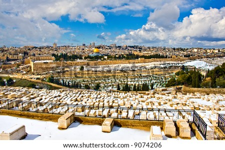 Jerusalem panorama with rare snow