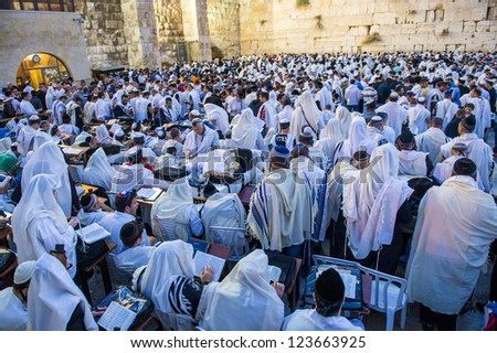 JERUSALEM - SEP 25 : Jewish men prays during the penitential prayers the Selichot , held on September 25 2012 in the Wailing wall in Jerusalem Israel