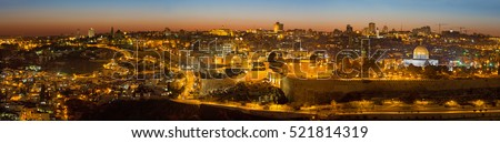 Jerusalem - The Panorama from Mount of Olives to old city at dusk.
