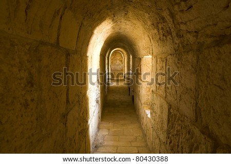 Jerusalem tunnel in old city surrounding walls