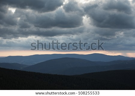 Jeseniky Mountains at the sunset, Czech Republic - stock photo