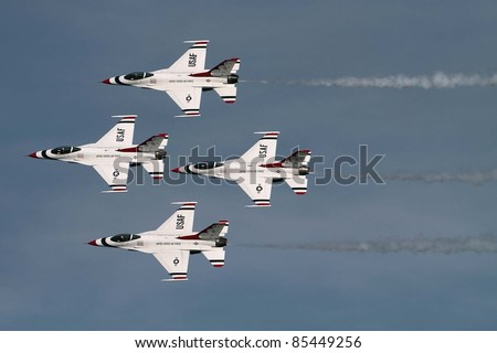 JESOLO, ITALY - JUNE 12: US Air Force Thunderbirds aerobatic team performs at the Jesolo airshow on June 12, 2011 in Jesolo, Italy.