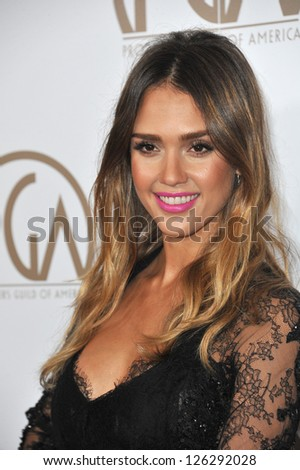 Jessica Alba at the 2013 Producers Guild Awards at the Beverly Hilton Hotel. January 26, 2013  Los Angeles, CA Picture: Paul Smith