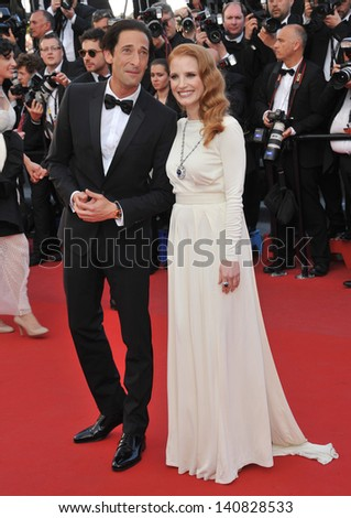 "Jessica Chastain & Adrien Brody at gala premiere for ""Behind the Candelabra"" at the 66th Festival de Cannes. May 21, 2013  Cannes, France"