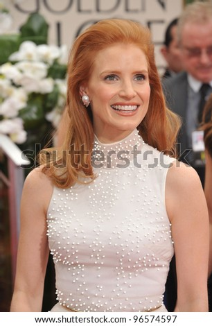 Jessica Chastain at the 69th Golden Globe Awards at the Beverly Hilton Hotel. January 15, 2012  Beverly Hills, CA Picture: Paul Smith / Featureflash