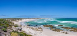 Jessie's (Jessies) Bay with a view to Quoin (or Quoine) Point. Near Pearly Beach. Overberg, Western Cape. South Africa