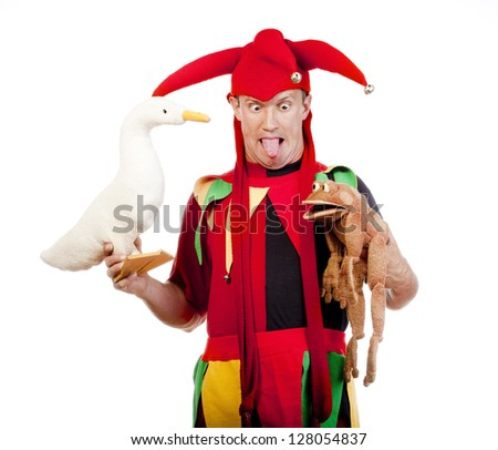 jester - entertaining figure in typical costume with puppets