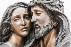 Jesus and Mary. Mother Mary holding her son Jesus.