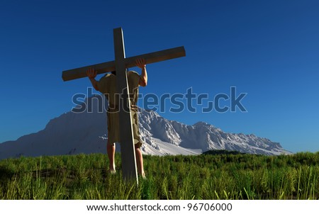Jesus carries the cross on a background of mountain scenery.