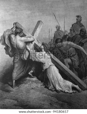 Jesus carries the heavy cross. 1) Le Sainte Bible: Traduction nouvelle selon la Vulgate par Mm. J.-J. Bourasse et P. Janvier. Tours: Alfred Mame et Fils. 2) 1866 3) France 4) Gustave Doré
