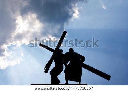 Jesus Christ and Cross - stock photo