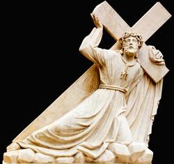 Jesus Christ bears his cross. The road to Calvary