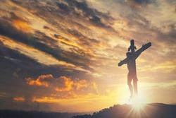 Jesus christ crucifix cross on heaven sunrise concept christmas catholic religion, forgiving christian worship god, happy easter day, praying praise good friday sunrise background, bible gospel news