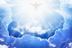 Jesus Christ in blue sky with clouds, bright light from heaven, resurrection concept, easter background