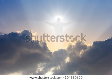 Jesus Christ in blue sky with dark clouds - heaven - stock photo