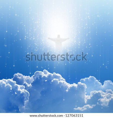Jesus Christ in blue sky with white clouds and stars - heaven, easter - stock photo