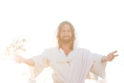 Jesus Christ in Heaven Blessing & Welcoming All with Outstretched Hands