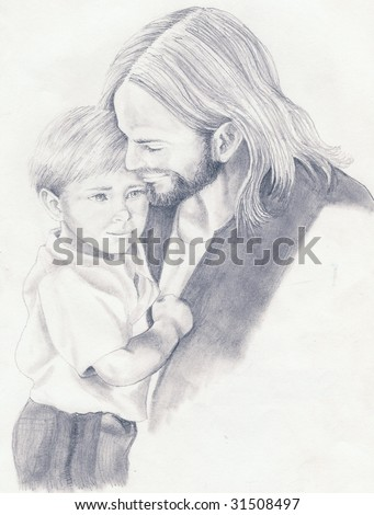 Jesus Christ is seen holding a small boy done in a black and white pencil sketch
