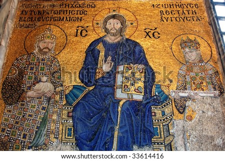 Jesus Christ is sitting on a throne decorated with jewels within Empress Zoe and Emperor Constantine IX Monomachus, Hagia Sofia in Istanbul.