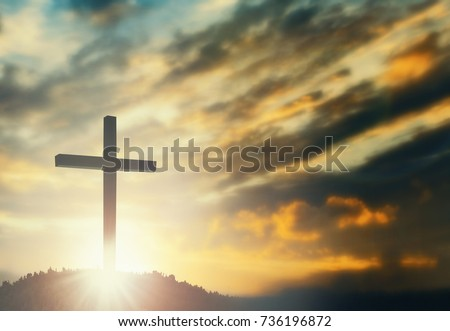 Jesus christ mercy at cross on mountain sunset background He belief to worship son of god, he is risen in sunrise Easter day lord calvary concept good friday, funeral, passion of prayer, Christmas - Shutterstock ID 736196872