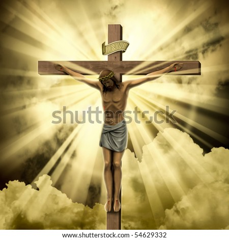 Jesus Christ on the Cross with Clouds