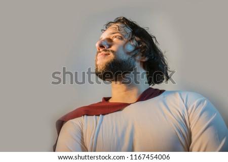 Jesus Christ portrait on a light background #1167454006