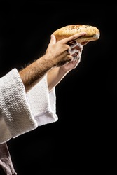 Jesus Christ praying to God. Blessing the bread at the Last Supper