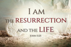Jesus Christ resurrection. Christian Easter concept. Empty tomb of Jesus with light. Born to Die, Born to Rise. He is not here he is risen . Savior, Messiah, Redeemer, Gospel. Alive. Miracle
