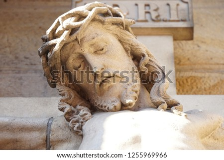 Jesus Christ Statue In The Beautiful Small Historical Town Of Germany. Historic Highlights. White Stone Background. #1255969966